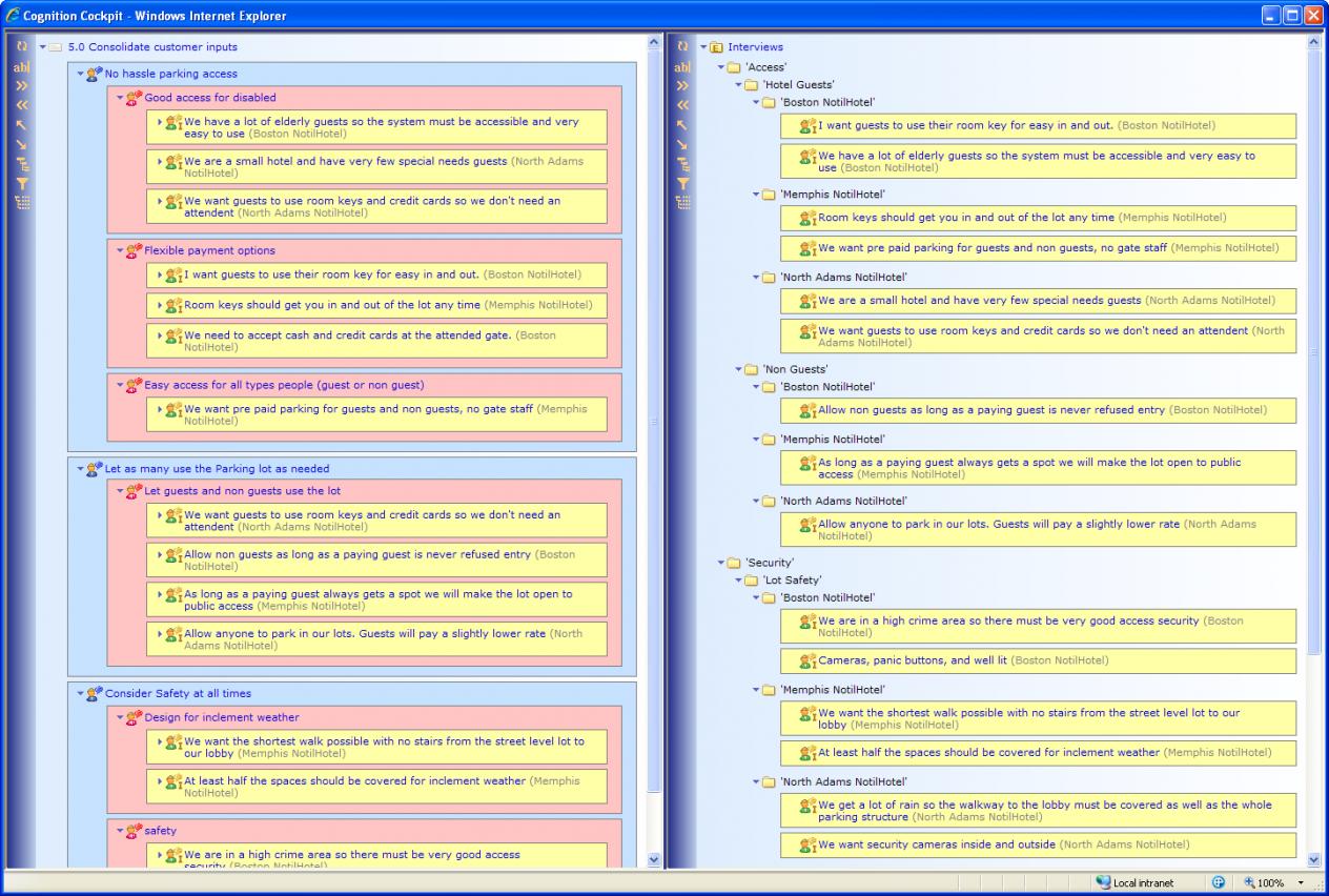 Cockpit Affinity Diagram Screenshot