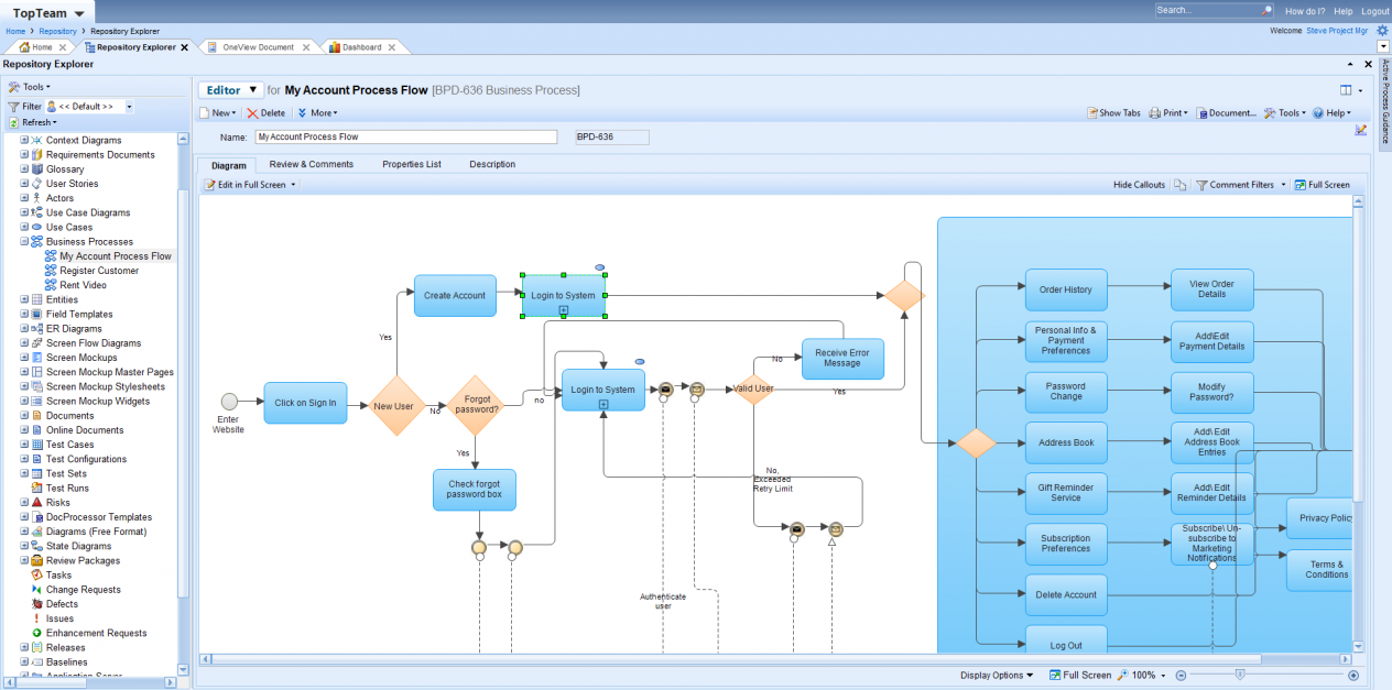 TopTeam diagram editor